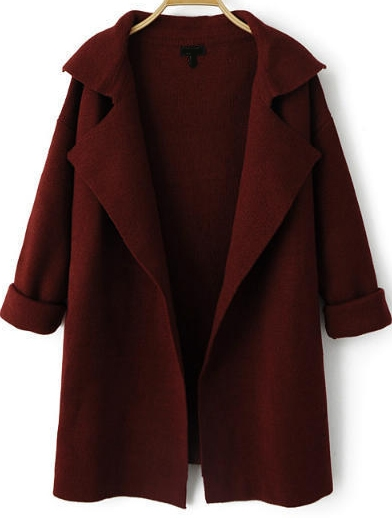 Wine Red Lapel Long Sleeve Loose Knit Cardigan-from romwe at planetgoldilocks