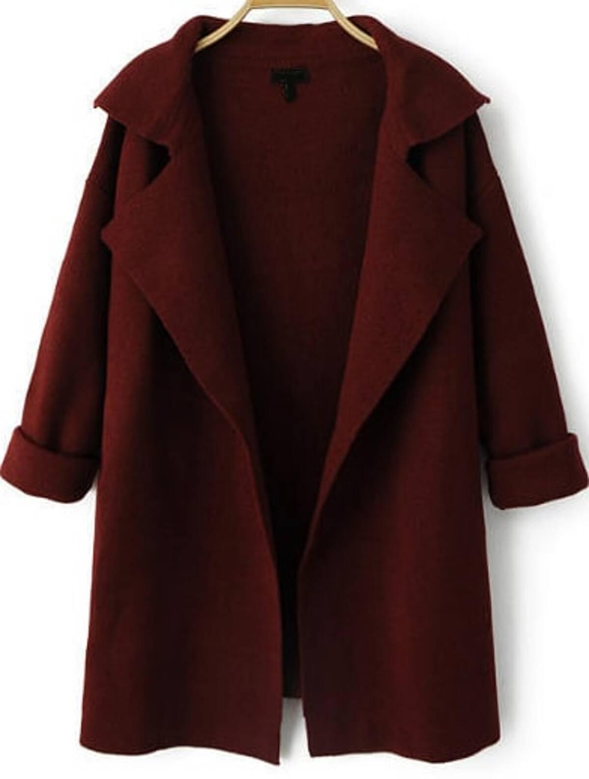 葡萄紅酒色 紅色  翻領 長袖 寬鬆 針織 薄外套
