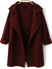 Wine Red Lapel Long Sleeve Loose Knit Cardigan