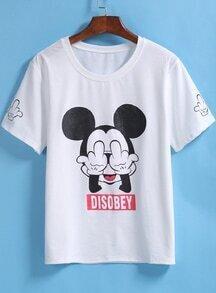 White Short Sleeve Mickey Print T-Shirt