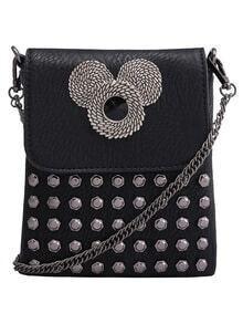Black With Rivets Mickey Pattern Shoulder Bag