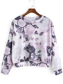 Round Neck Florals Pink Sweatshirt