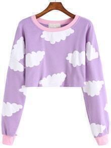 Cloud Print Crop Sweatshirt