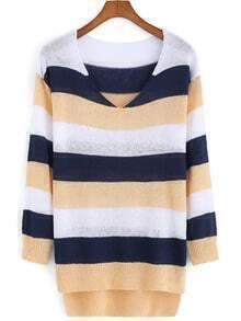 V Neck Dip Hem Striped Blue Apricot Sweater
