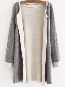 Round Neck Knit Grey Coat