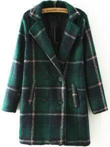 Lapel Plaid Double Breasted Woolen Coat