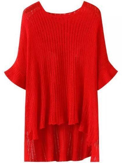 Red Round Neck Batwing Sleeve Dip Hem Sweater