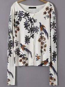 Multicolor Round Neck Bird Print Sweater