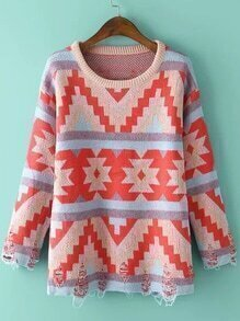 Red Blue Round Neck Geometric Print Ripped Sweater