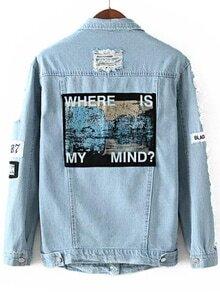 Blue Lapel Vintage Ripped Denim Coat