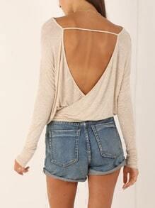 Apricot Long Sleeve Backless T-Shirt