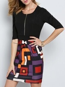 Black Half Sleeve Abstract Print Dress