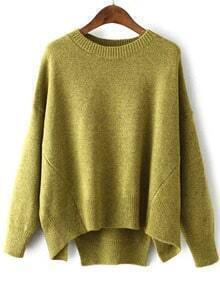 Dip Hem Slit Yellow Sweater