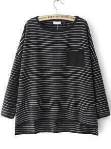 Dip Hem Striped Pocket Black Sweater