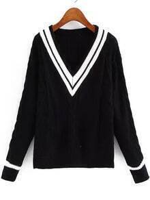 V Neck Striped Cable Knit Black Sweater
