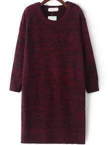 Long Sleeve Straight Wine Red Sweater Dress