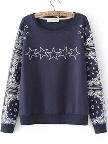 Navy Round Neck Totem Stars Print Sweatshirt