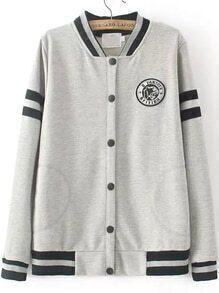 Grey Stand Collar Striped Badge Sweatshirt