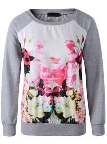 Grey Round Neck Long Sleeve Floral Sweatshirt