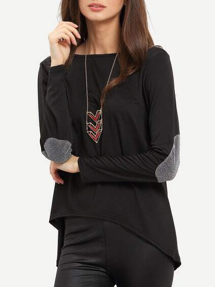 Black Dip Hem Loose T-shirt
