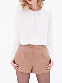White Round Neck Knotted Backless Blouse