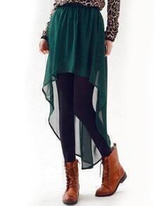 Green Elastic Waist Chiffon High Low Skirt