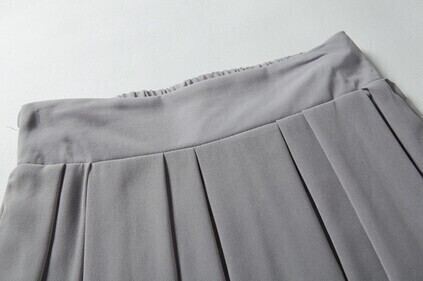 Grey Elastic Waist Chiffon Pleated Skirt