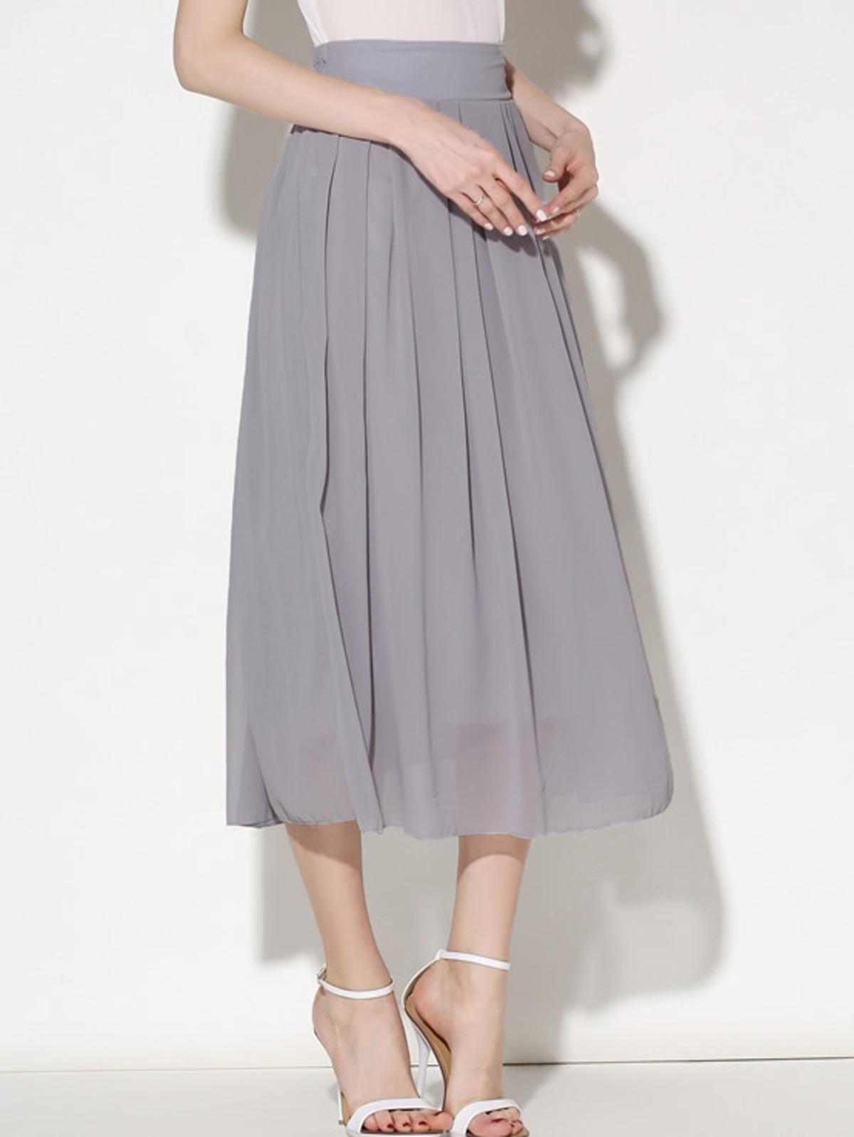 灰色 彈性腰 透明薄紗 打褶裙子