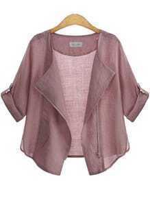 Pink Casual Long Sleeve Loose Coat