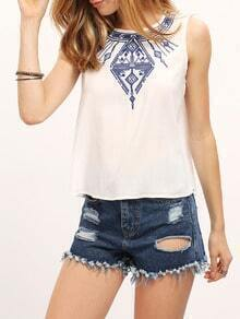 White Round Neck Embroidered Buttons Tank Top