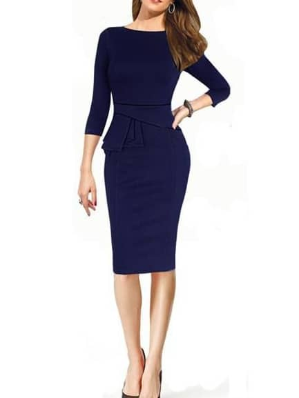 Blue Long Sleeve Peplum Waist Slim Dress - $17.33