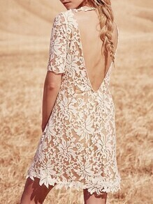 White Short Sleeve Floral Crochet Backless Dress