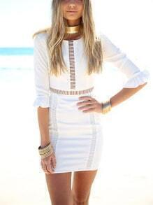 White Butterfly Sleeve Hollow Bodycon Dress