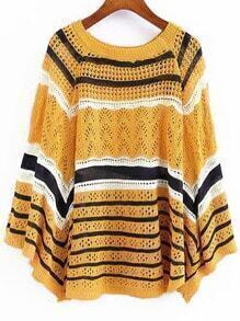 Striped Open-Knit Cape Yellow Sweater