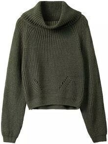 Turtleneck Long Sleeve Green Sweater