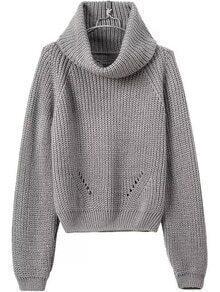 Turtleneck Long Sleeve Grey Sweater