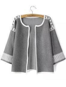 3/4 Sleeve Geometric Print Grey Coat