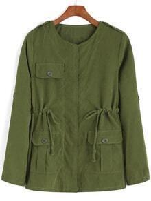 Round Neck Drawstring Pockets Army Green Coat