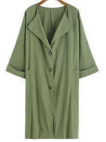 Drape Front Cuffed Buttons Pockets Coat