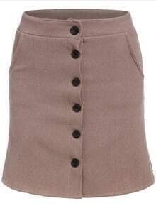 Single Breasted Bodycon Skirt
