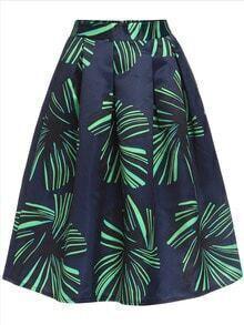 Leaves Print Green Skirt