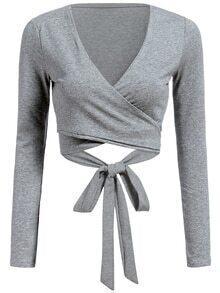 V Neck Self-Tie Crop Grey T-shirt