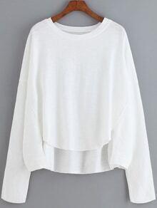 Dip Hem Letter Print White T-shirt