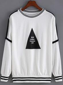 Triangle Print Striped Trim Swearshirt
