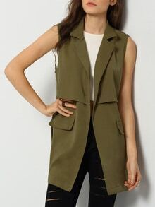 Army Green Sleeveless Pockets Vest