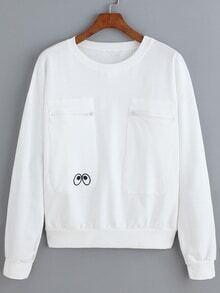 Eye Embroidered Zipper Pockets Sweatshirt