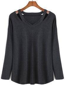 V Neck Long Sleeve Hollow Black T-shirt