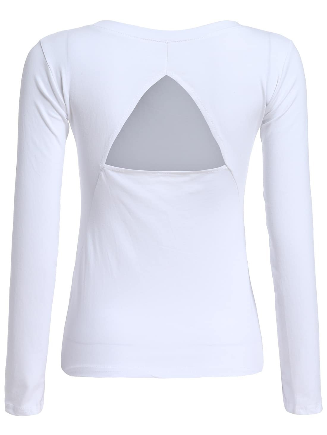Open back long sleeve white t shirtfor women romwe for Long sleeve open shirt