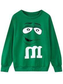 Cartoon Print Green Sweatshirt