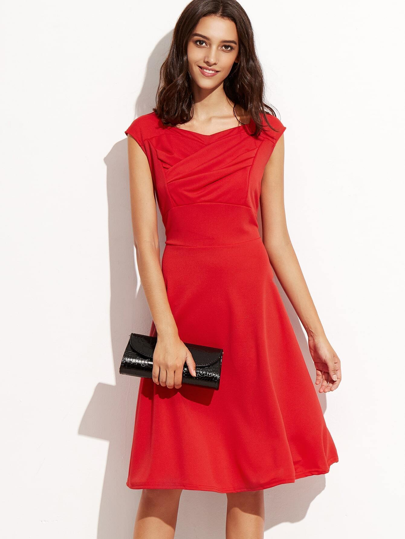 Heart Shape Collar Sleeveless Red Dress - $18.33